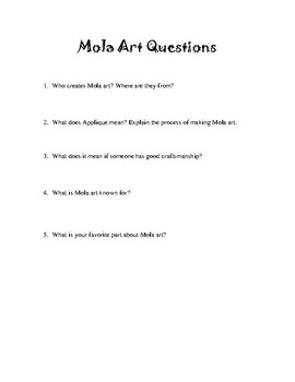 Mola Art Summary with Questions