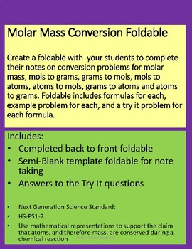 Molar Mass Conversion FoldableStudent and Teache Copy