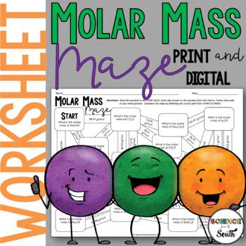 Molar Mass Maze Worksheet for Review or Assessment