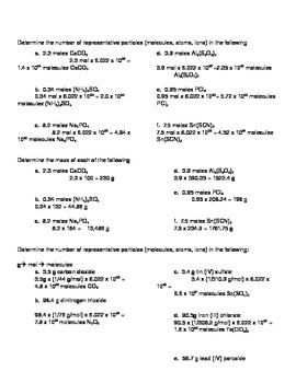 Molar Mass, Mole and Molecules Calculations with Key