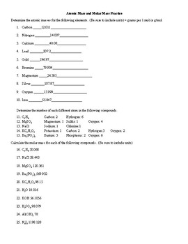 Molar Mass Worksheet