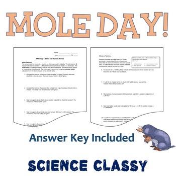 Molarity Calculations - Happy Mole Day! October 23rd!
