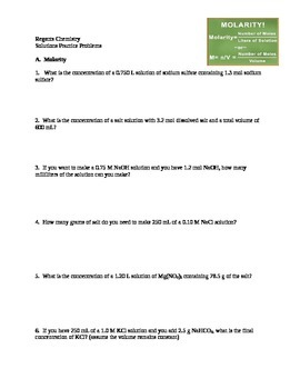 Molarity & Dilution Problems for High School Chemistry