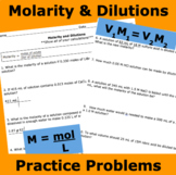 Molarity & Dilutions Practice Problems