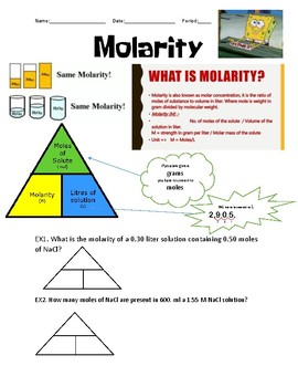 Molarity Introduction and Coloring Activity