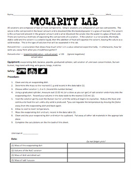 Molarity Labs and Worksheets
