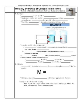 Molarity Notes HS-PS1-5