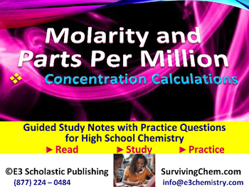 Molarity & Parts Per Million Concentration -  Guided Study Notes for Chemistry