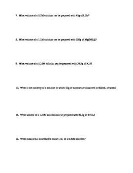 Molarity Practice Worksheet by MJ | Teachers Pay Teachers