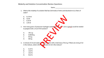 Molarity Review Questions