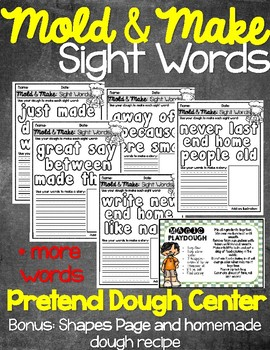 Mold and Make Sight Words Pretend Dough