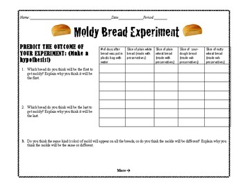 Moldy Bread Experiment Lab Sheet & Related Jigsaw Readings