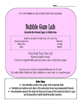 Mole Activity: Bubble Gum Lab