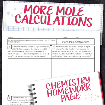 Mole Calculations from Volumes Chemistry Homework Worksheet