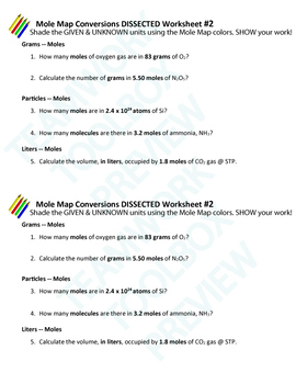 Mole Conversion Problems ~CHEMISTRY DISSECTED~Mole Map Worksheet #2