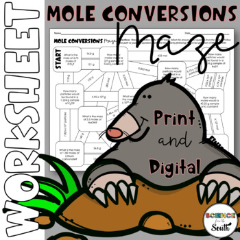 Mole Conversions Maze for Review or Assessment