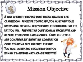 Mole Conversions (moles, mass, and molecules): Chemistry Escape Room - Science