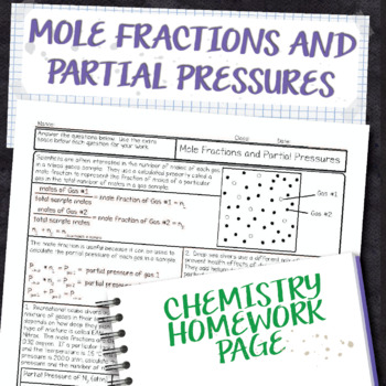 Mole Fractions and Partial Pressures Chemistry Homework Worksheet