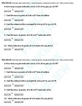 Mole Map Tool 2 Worksheets 20 Problems Answer Keys Chemistry