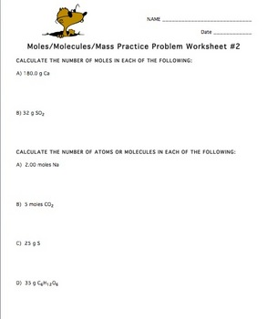 Mole Practice Worksheet #2 by Amy Brown Science | TpT