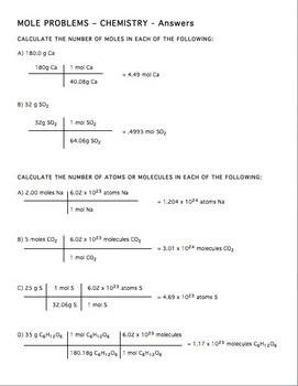 Mole Practice Worksheet 2 By Amy Brown Science Tpt