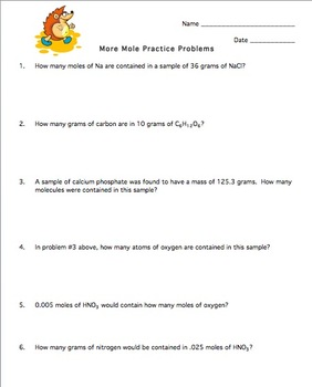 Mole Practice Worksheet #4 (Stoichiometry) by Amy Brown Science | TpT