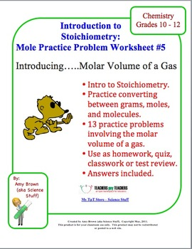 mole practice worksheet 5 molar volume of a gas by amy brown science. Black Bedroom Furniture Sets. Home Design Ideas