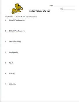 Mole Practice Worksheet #5: Molar Volume of a Gas by Amy Brown Science