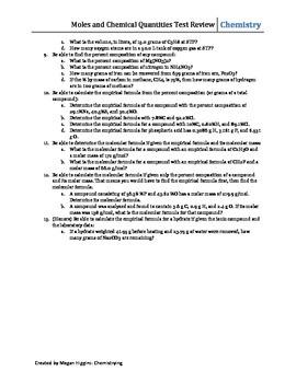 Mole Unit Review Sheet