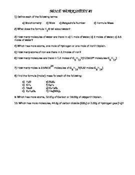 Mole Worksheet #1 by Gary Edelman | Teachers Pay Teachers