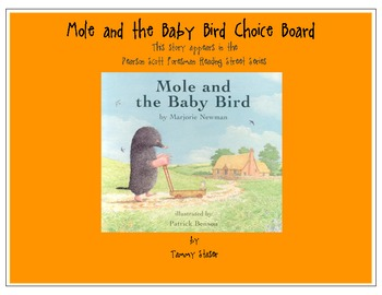 Mole and the Baby Bird Choice Board from Pearson Scott Foresman Series