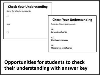 Molecular Compounds - Chemistry PowerPoint Lesson & Student Notes Package