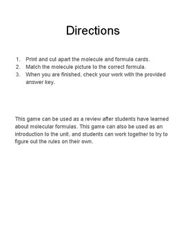 Molecular Formula Matching Game