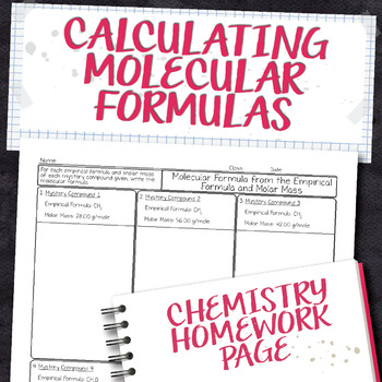 Molecular Formula from Empirical Formula and Molar Mass Homework Worksheet