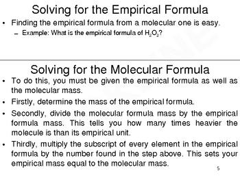 Molecular Formulas, Molecular Mass, and Empirical Formulas