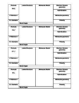 Molecular Geometry Worksheet by Aaron Wohlrab | Teachers Pay Teachers