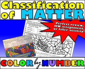 Classification of Matter - Color By Number