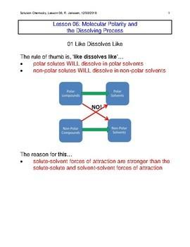 Molecular Polarity and Dissolving