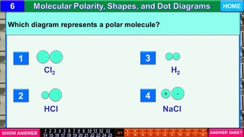 Molecular Shapes & Dot Diagrams: iPractice (Interactive PPT Worksheet for Tests)