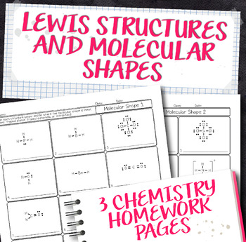 Molecular Shapes and Lewis Structures Chemistry Homework Worksheets