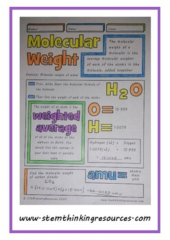Molecular Weight Middle Doodle Notes High School Chemistry