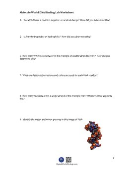 Molecule World DNA Binding Lab Worksheet for DNA Binding Lab iPad app