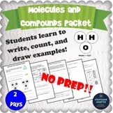 Molecules and Compounds Worksheets Packet NGSS MS-PS1-1 and TEKS 6.5A 8.5D
