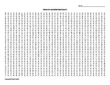 Molecules and Solids Vocabulary Word Search for Physics or Physical Science