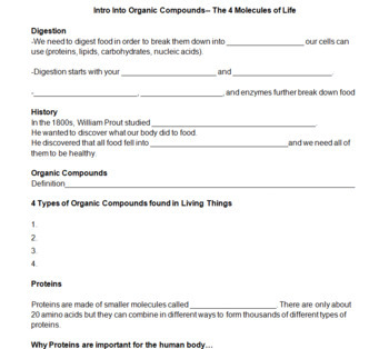 Molecules of Life + Organic Compounds Bundle