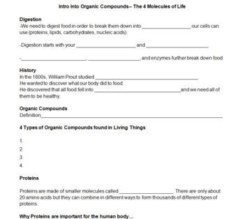Molecules of Life + Organic Compounds Bundle