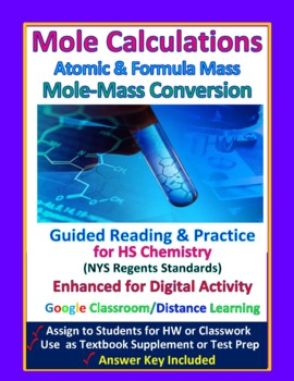 Moles & Formula Mass Calculations -  Guided Study Notes for HS Chemistry