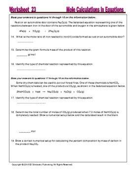 Mole Ratios, Mole Calculations in Equations: Essential Skills Worksheets #23