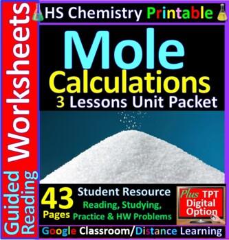 Moles & Stoichiometry 4-Product Bundle: HS Chemistry Notes, Worksheet..etc