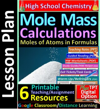Moles and Formula Mass Calculations - Worksheets & Practice Questions HS Chem
